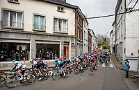 World Champion Julian Alaphilippe (FRA/Deceuninck - QuickStep) rolling through town in the belly of the peloton<br /> <br /> 85th La Flèche Wallonne 2021 (1.UWT)<br /> 1 day race from Charleroi to the Mur de Huy (BEL): 194km<br /> <br /> ©kramon