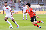 Hwang Inbeom of South Korea (R) fights for the ball with Salem Al Hajri of Qatar (L) during the AFC Asian Cup UAE 2019 Quarter Finals match between Qatar (QAT) and South Korea (KOR) at Zayed Sports City Stadium  on 25 January 2019 in Abu Dhabi, United Arab Emirates. Photo by Marcio Rodrigo Machado / Power Sport Images
