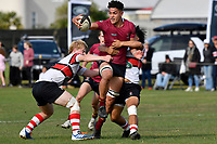 Che Clark of Kings College is tackled during the College 1st XV Rugby - Scots College v Kings College at Scots College, Wellington, New Zealand on Saturday 8 May 2021.<br /> Copyright photo: Masanori Udagawa /  www.photosport.nz