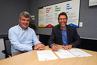 CentrePort chief executive Derek Nind and Zealand chief executive Paul Atkins sign the Sanctuary to Sea Project memorandum of understanding at CentrePort in Wellington, New Zealand on Tuesday, 23 March 2021. Photo: Dave Lintott / lintottphoto.co.nz