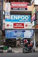 Bali, Indonesia.  Store Front, Street Scene, Klungkung, Semarapura.