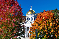 Vermont State House with autumn color.