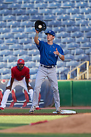 Dunedin Blue Jays first baseman PK Morris (12) catches a throw for an out during a game against the Clearwater Threshers on May 20, 2021 at BayCare Ballpark in Clearwater, Florida.  (Mike Janes/Four Seam Images)