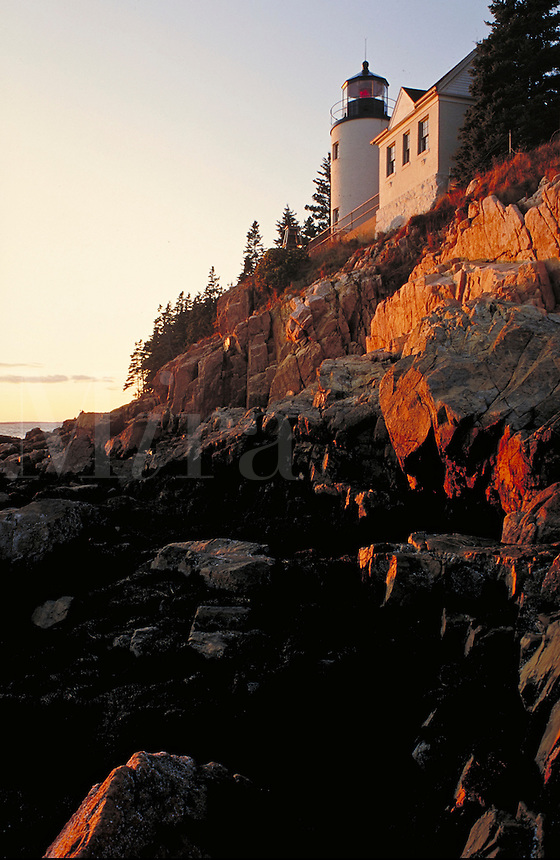 Bass Harbor Lighthouse at sunset (vertical). Maine, Bass Harbor.