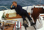 Michael Spring disabled sailor, single hand return trip to the Azores 1983 to raise money for the Pain Relief Foundation. <br />