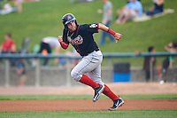 Great Lakes Loons third baseman Matt Beaty (10) steals second during a game against the Kane County Cougars on August 13, 2015 at Fifth Third Bank Ballpark in Geneva, Illinois.  Great Lakes defeated Kane County 7-3.  (Mike Janes/Four Seam Images)