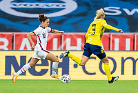 SOLNA, SWEDEN - APRIL 10: Carli Lloyd #10 of the USWNT dribbles during a game between Sweden and USWNT at Friends Arena on April 10, 2021 in Solna, Sweden.