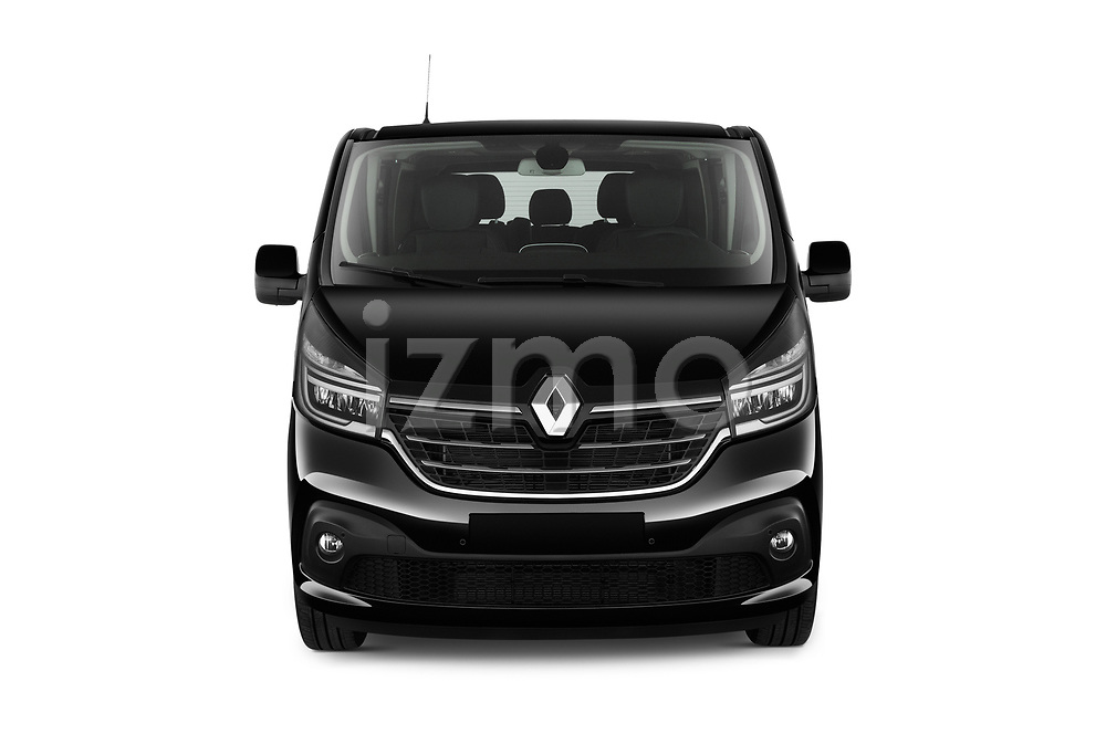 Car photography straight front view of a 2020 Renault Trafic Space Class 4 Door Passenger Van