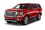 2021 GMC Yukon-Denali - 5 Door SUV Angular Front automotive stock photos of front three quarter view