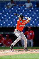 Miami Marlins Davis Bradshaw (52) at bat during a Florida Instructional League game against the Washington Nationals on September 26, 2018 at the Marlins Park in Miami, Florida.  (Mike Janes/Four Seam Images)