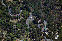 aerial photograph of the Calistoga Grade of Highway 29 as it winds up the side of Mount St. Helena from Calistoga, Napa County, California