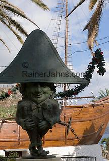 Spain, Canary Islands, La Palma, Santa Cruz de La Palma: capital - midget statue (Enano) and Barco de la Virgen (Virgin's ship), copy of Christoph Columbus' Santa Maria