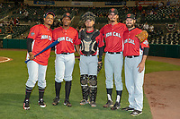 Representatives of the Visalia Rawhide pose for a picture after the 2018 California League All-Star Game at The Hangar on June 19, 2018 in Lancaster, California. The North All-Stars defeated the South All-Stars 8-1.  (Donn Parris/Four Seam Images)
