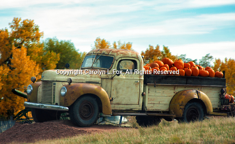 An old truck sits next to the highway selling pumpkins.