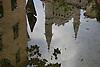 reflection of the church in the fountain of the Plaza España<br /> <br /> reflección de la iglesia Sant Bartomeu en la fuente de la Plaza España en Sóller<br /> <br /> Spiegelung der Kirche im Brunnen der Plaza España in Sóller