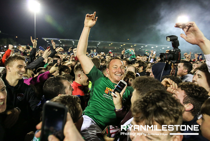 2017 SSE Airtricity League Premier Division,<br /> Cork City vs Derry City,<br /> Tuesday 17th October 2017,<br /> Turners Cross, Cork.<br /> Achille Campion celebrates at the end of the game.<br /> Photo By: Michael P Ryan