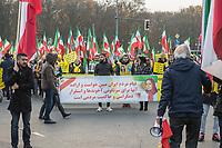 """Mehrere hundert Exil-Iraner demonstrierten am Samstag den 23. November 2019 in Berlin gegen die Regierung in Teheran. Sie solidarisierten sich mit den Aufstaendischen, die seit mehreren Wochen gegen das Regime protestieren. Mehr als 250 Menschen sollen bei den Protesten mittlerweile von den sog. """"Revolutionsgarden"""" erschossen worden sein.<br /> Aufgerufen zu der Demonstration vor dem Brandenburger Tor hatte die Gruppe """"Nationaler Widerstandsrat Iran"""" - NWRI.<br /> 23.11.2019, Berlin<br /> Copyright: Christian-Ditsch.de<br /> [Inhaltsveraendernde Manipulation des Fotos nur nach ausdruecklicher Genehmigung des Fotografen. Vereinbarungen ueber Abtretung von Persoenlichkeitsrechten/Model Release der abgebildeten Person/Personen liegen nicht vor. NO MODEL RELEASE! Nur fuer Redaktionelle Zwecke. Don't publish without copyright Christian-Ditsch.de, Veroeffentlichung nur mit Fotografennennung, sowie gegen Honorar, MwSt. und Beleg. Konto: I N G - D i B a, IBAN DE58500105175400192269, BIC INGDDEFFXXX, Kontakt: post@christian-ditsch.de<br /> Bei der Bearbeitung der Dateiinformationen darf die Urheberkennzeichnung in den EXIF- und  IPTC-Daten nicht entfernt werden, diese sind in digitalen Medien nach §95c UrhG rechtlich geschuetzt. Der Urhebervermerk wird gemaess §13 UrhG verlangt.]"""