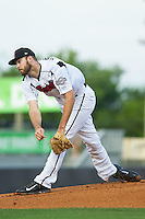 Nashville Sounds starting pitcher Taylor Jungmann (33) follows through on his delivery against the Oklahoma City RedHawks at Greer Stadium on July 25, 2014 in Nashville, Tennessee.  The Sounds defeated the RedHawks 2-0.  (Brian Westerholt/Four Seam Images)