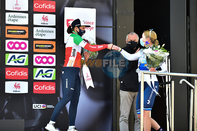 Annemiek Van Vleuten (NED) Movistar Team Women 2nd and Elisa Longo Borghini (ITA) Trek-Segafredo in 3rd place on the podium at the end of Liege-Bastogne-Liege Femmes 2021, running 141km from Bastogne to Liege, Belgium. 25th April 2021.  <br /> Picture: A.S.O./Gautier Demouveaux | Cyclefile<br /> <br /> All photos usage must carry mandatory copyright credit (© Cyclefile | A.S.O./Gautier Demouveaux)