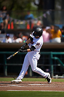 Inland Empire 66ers designated hitter Jared Walsh (21) hits his first home run of the afternoon during a California League game against the Lancaster JetHawks at San Manuel Stadium on May 20, 2018 in San Bernardino, California. Inland Empire defeated Lancaster 12-2. (Zachary Lucy/Four Seam Images)
