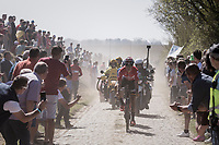 Jelle Wallays (BEL/Lotto-Soudal) leading the race over the first cobbled sectors<br /> <br /> 115th Paris-Roubaix 2017 (1.UWT)<br /> One Day Race: Compiègne › Roubaix (257km)