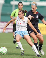 Allie Long #9 of the Washington Freedom is beaten to the ball by Natalie Spillger #13 of the Chicago Red Stars during a WPS match at RFK stadium on June 13 2009 in Washington D.C. The game ended in a 0-0 tie.