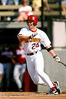Jason Lane of the USC Trojans during a NCAA baseball game at Dedeaux Field circa 1999 in Los Angeles, California. (Larry Goren/Four Seam Images)