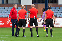 25th September 2021; Kilmac Stadium, Dundee, Scotland: Scottish Premiership football, Dundee versus Rangers; Dundee assistant manager Dave Mackay remonstrates with referee Bobby Madden at full time