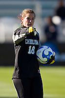 North Carolina Tar Heels goalkeeper Ashlyn Harris (18) during warmups. The North Carolina Tar Heels defeated the Notre Dame Fighting Irish 2-1 during the finals of the NCAA Women's College Cup at Wakemed Soccer Park in Cary, NC, on December 7, 2008. Photo by Howard C. Smith/isiphotos.com