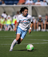Chicago forward Karen Carney (14) dribbles down the field.  The Boston Breakers defeated the Chicago Red Stars 3-1 at Toyota Park in Bridgeview, IL on July 25, 2010
