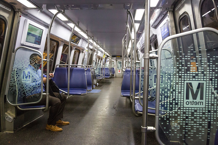 Washington DC Metro System Railcar during Coronavirus Socially Distancing Pandemic.