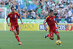 Huelva's players Victor diaz (L) and Cabrera (R) during the match between Real Betis and Recreativo de Huelva day 10 of the spanish Adelante League 2014-2015 014-2015 played at the Benito Villamarin stadium of Seville. (PHOTO: CARLOS BOUZA / BOUZA PRESS / ALTER PHOTOS)