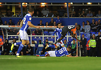 Swansea City's Joel Asoro is fouled by Birmingham City's Michael Morrison during the Sky Bet Championship match between Birmingham City and Swansea City at St Andrew's Trillion Trophy Stadium on August 17, 2018 in Birmingham, England.