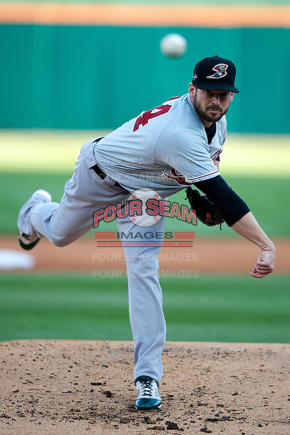 Sacramento River Cats pitcher Graham Godfrey #34 during the Triple-A All-Star game featuring the Pacific Coast League and International League top players at Coca-Cola Field on July 11, 2012 in Buffalo, New York.  PCL defeated the IL 3-0.  (Mike Janes/Four Seam Images)