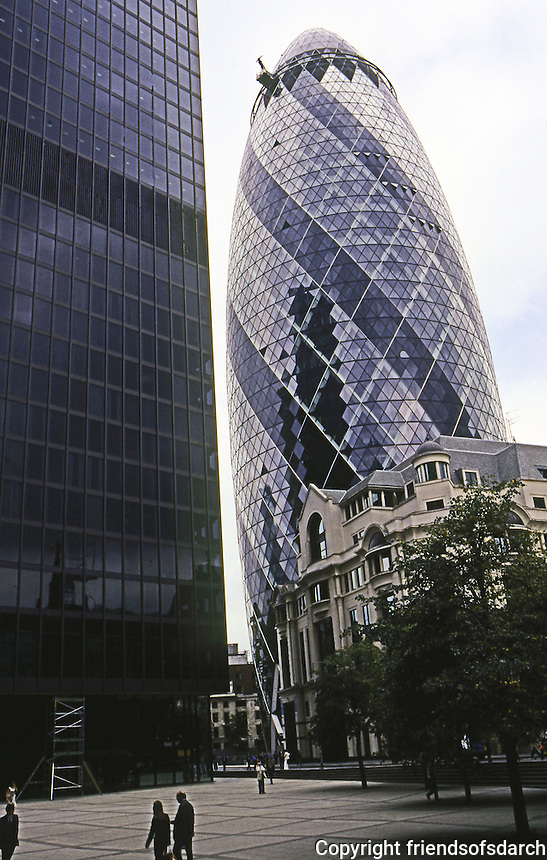 Norman Foster: St. Mary Axe, London, 2003. 180M. or about 560 ft. in height. Photo '05.