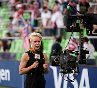 AUSTIN, TX - JUNE 16: Broadcaster Lori Lindsey talks to the camera before a game between Nigeria and USWNT at Q2 Stadium on June 16, 2021 in Austin, Texas.