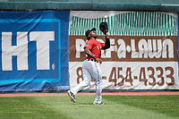 Erie SeaWolves left fielder Christin Stewart (35) makes a catch during a game against the Reading Fightin Phils on May 18, 2017 at UPMC Park in Erie, Pennsylvania.  Reading defeated Erie 8-3.  (Mike Janes/Four Seam Images)