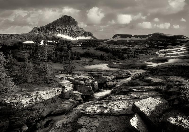 Reynolds Creek and  Mt. Reynolds. Glacier National Park, Montanna