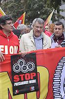 - Milano,  10 ottobre 2014, manifestazione della FIOM, sindacato lavoratori metalmeccanici della CGIL, contro il summit  dei capi di stato europei sul lavoro; Maurizio Landini, segretario generale della FIOM-CGIL<br /> <br /> - Milan, October 10, 2014, demonstration of FIOM, the metal workers union of CGIL, against the summit of European heads of state about the job; Maurizio Landini, Fiom-CGIL General Secretary