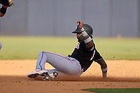 Jupiter Hammerheads Monte Harrison (3) slides into second base during a game against the Tampa Tarpons on July 2, 2021 at George M. Steinbrenner Field in Tampa, Florida.  (Mike Janes/Four Seam Images)