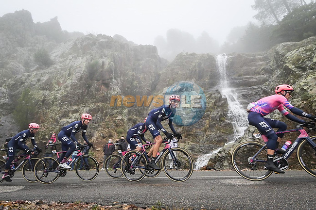 The peloton including Hugh Carthy (GBR) and EF Pro Cycling in action during Stage 17 of the Vuelta Espana 2020, running 178.2km from Sequeros to Alto de la Covatilla, Spain. 7th November 2020. <br /> Picture: Luis Angel Gomez/PhotoSportGomez | Cyclefile<br /> <br /> All photos usage must carry mandatory copyright credit (© Cyclefile | Luis Angel Gomez/PhotoSportGomez)