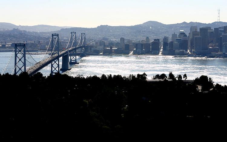 October 16, 2005; San Francisco, CA, USA; Aerial view of the San Francisco/Oakland Bay Bridge and downtown San Francisco. Photo by: Phillip Carter