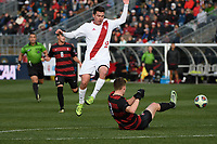 Chester, PA - Sunday December 10, 2017: Austin Panchot, Tanner Beason during the NCAA 2017 Men's College Cup championship match between the Stanford Cardinal and the Indiana Hoosiers at Talen Energy Stadium.