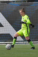 goalkeeper Elke Geeraert (25) of Club Brugge  pictured during a female soccer game between Club Brugge Dames YLA and Oud Heverlee Leuven on the first matchday in Play-Off 1 of the 2020 - 2021 season of Belgian Scooore Womens Super League , saturday 3 th April 2021  in Brugge , Belgium . PHOTO SPORTPIX.BE | SPP | DIRK VUYLSTEKE