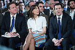 © Joel Goodman - 07973 332324 . 28/03/2015 . Manchester , UK . David Cameron , wife Samantha Cameron and George Osborne sitting ahead of the Prime Minister's speech , at the Conservative Party Spring Forum at the Old Granada Studios , Quay Street , Manchester . Photo credit : Joel Goodman
