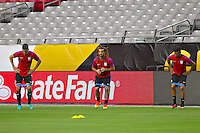Glendale, AZ - Friday June 24, 2016: Kyle Beckerman, Michael Orozco of the United States during a training prior to the third place match of the Copa America Centenario at the University of Phoenix Stadium.<br /> Action photo during of the United States team training before the game against the selection of Colombia for third place in the America Cup Centenary 2016 at University of Phoenix Stadium<br /> <br /> Foto de accion durante el Entrenamiento de la Seleccion de Estados Unidos previo al partido contra la Seleccion de Colombia por el tercer lugar de la Copa America Centenario 2016, en el Estadio de la Universidad de Phoenix, en la foto: (i-d) Kyle Beckerman y Michael Orozco de USA<br /> <br /> <br /> 24/06/2016/MEXSPORT/Victor Posadas.