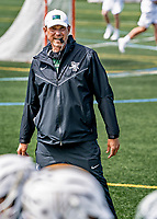 1 May 2021: University of Vermont Catamount Head Coach Chris Feifs, in his fifth year at the helm of the Men's Lacrosse Program, works pre-game drills prior to facing the Stony Brook University Seawolves at Virtue Field in Burlington, Vermont. The Cats edged out the Seawolves 14-13 with less than one second to play in their America East Men's Lacrosse matchup. Mandatory Credit: Ed Wolfstein Photo *** RAW (NEF) Image File Available ***