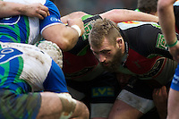 Joe Marler of Harlequins demonstrates the dark art of the front row during the Heineken Cup match between Harlequins and Connacht Rugby at The Twickenham Stoop on Saturday 12th January 2013 (Photo by Rob Munro).