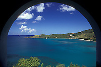 AJ2377, British Virgin Islands, Tortola, Caribbean, Virgin Islands, B.V.I., BVI, Picturesque view of Brewer's Bay looking through an arch on the island of Tortola on the British Virgin Islands.