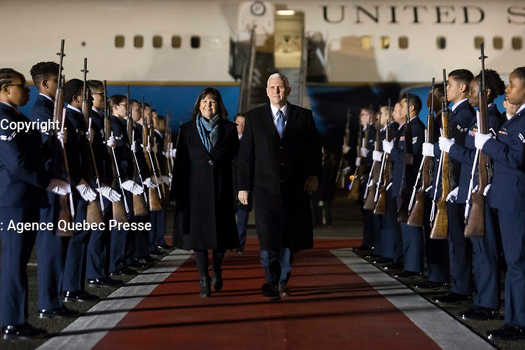 Vice President Mike Pence and Mrs. Karen Pence disembark Air Force Two at Yokota Air Base, Tuesday, February 6, 2018, and are greeted by U.S. Ambassador to Japan, Bill Hagerty and his wife Chrissy Hagerty, Masahisa Sato, Japanese State Minister for foreign affairs, Lt Gen. Jerry Martinez, Commander of the U.S. Force of Japan and his wife Kim Martinez and Col. Kenneth Moss, Commander of Yokota Air Base and his wife Molly Moss, in Tokyo, Japan. (Official White House Photo by D. Myles Cullen)